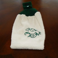 Embroidered Green Dachsund Hanging Dish Towel With Hand Knit Topper