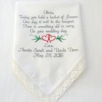 Flower Girl Gift Embroidered Wedding Handkerchief Accessories Flower Girl Wedding Gift Today you hold a basket of flowers Poem Keepsake