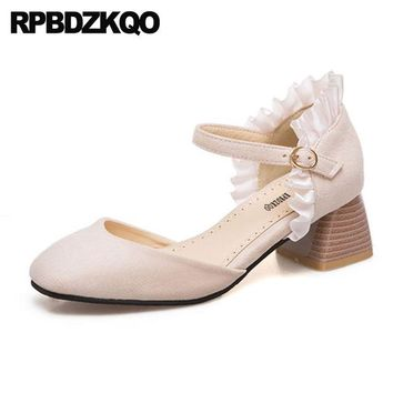 Beige Thick Suede Ankle Strap Square Toe 11 43 Medium Heels Ladies Cute Pumps Lolita Fashion Shoes Plus Size 33 Kawaii 10 42
