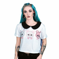 Fearless Illustration Sylvia Cropped T Shirt (White)