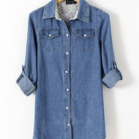 Blue Pearl Button Denim Shirt Collar Long Sleeve Blouse