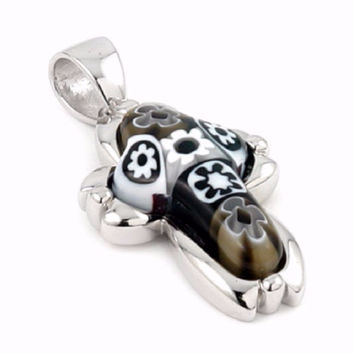 "Sterling Silver Black And White Glass Murano Millefiori Glass Pendant Cross  (Free 18"" Chain)"