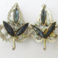 Emmons Leaf Earring Blue Navettes Light Blue Crystals Prong Set Antique Silver Tone  Clip On G12