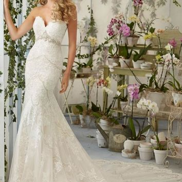 Mori Lee 2825 Strapless Lace Fit & Flare Wedding Dress