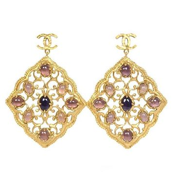 Chanel Purple & Hammered Gold Dangle Earrings