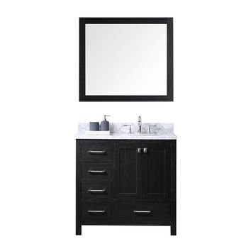 Virtu USA Caroline Avenue 36 in. W x 22 in. D x 32.68 in. H Zebra Grey Vanity with Marble Vanity Top with White Basin and Mirror-KS-60036L-WMRO-ZG - The Home Depot