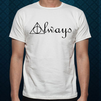 Best Design by ClothingShirt Always Deathly Hallows Symbols Harry Potter For t shirt Mens and T shirt Ladies color White