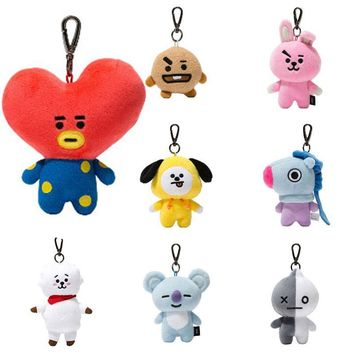KPOP BTS Bangtan Boys Army  Bt21 Plush Pendants Cute Doll Toys Keychain Keyring Stuffed  Backbag Pendant Keychain Plush Dolls Kawaii Bt21 Album AT_89_10