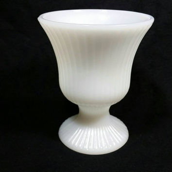 Vintage E O Brody Co. Milk Glass M7000 Vase/Milk Glass Planter/Shabby Chic Wedding Decor/Cottage Chic Candy Dish/Milk Glass Goblet