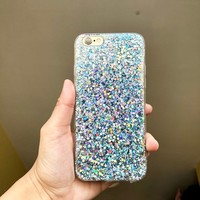 Blue glitter shimmering shiney soft silicone iPhone 6 6s case soft bendy rubber material no liquid