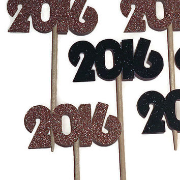 2016 cupcake toppers, New Years Eve party decorations, food picks, donut picks, black and gold, 12 pieces