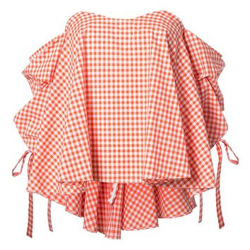 Chicloth Orange Small Plaid Sweet Girl Puff Sleeve Blouse