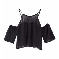 Off Shoulder Spaghetti Strap Cropped Top
