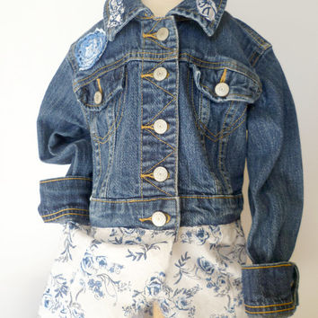 Country Baby Jean Jacket. Boho Girls Denim Coat. Shabby Chic Jean Jacket. Eco Chic Refashioned Coat. Blue Flower Trimmed Denim Jacket