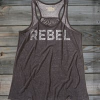 Juniors Country Girls™ Rebel Distress Flowy Racerback Tank