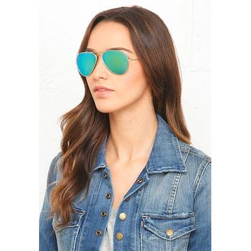 Savannah Classic Teardrop Full Metal Flash Mirrored Flat Lens Aviator Sunglasses - Green
