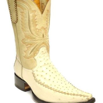 Gavel Men's Spanish Toe Genuine Handcrafted Ostrich Cowboy Boots-Ivory