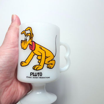 Vintage Disney Pluto Milk Glass Coffee Mug