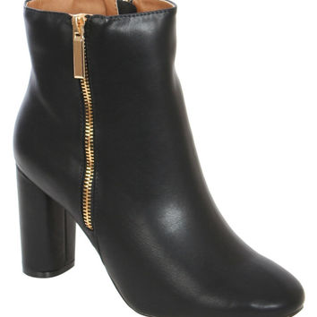 Suri Mid Heel Ankle Boots in Black
