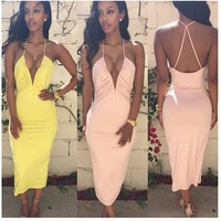 Sexy Spaghetti Strap Backless Deep V Bandages Prom Dress One Piece Dress [6048619137]