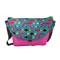 Turqouise and Pink Cube Pattern Messenger Bag