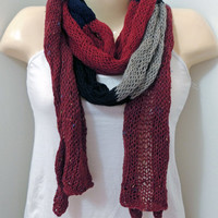 Hand Knitted Wool Multicolor Scarf - Colorblock