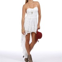 Beatriz- White Strapless Homecoming Dress