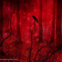 "Nature Photography - Fantasy Nature Red Landscape, Surreal Red Forest Trees, Raven Crow Red Fantasy Woodlands 9"" x 12"""