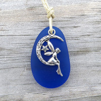 Sea Glass Crescent Moon Fairy Star Cobalt Blue  Necklace by WaveofLife