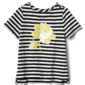 Gap | Disney Belle Embellished Slub Tee Stripe Shirt Toddler Girl Size: 2 Years