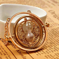 Harry potter necklaces,time converter necklace jewelry charm of converter 18 k Yellow plated valentine's gift