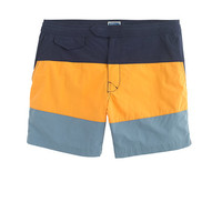 "J.Crew Mens 6.5"" Tab Swim Short In Blue Colorblock"
