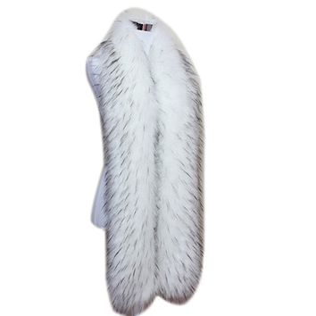 Men Women Winter Warm Faux Fox Raccoon Fur Collar Stole Long Scarf Shawl