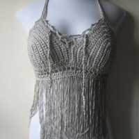 Halter top with fringes,  SILVER/ TAUPE GREY crochet top, bikini top, 70's top, gypsy, boho chic, Hippie, festival clothing, bustier