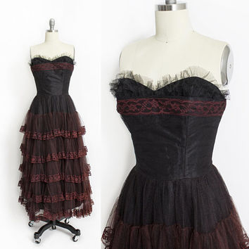 Vintage 1950s Dress - Black Lace Tulle Rust Ruffles Strapless Full Skirt Party Prom Dress 50s - Small