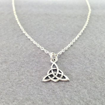 Trinity Knot Triquetra Celtic Knot Necklace, Simple Lovely Sterling Silver Necklace , Perfect for all Occasions
