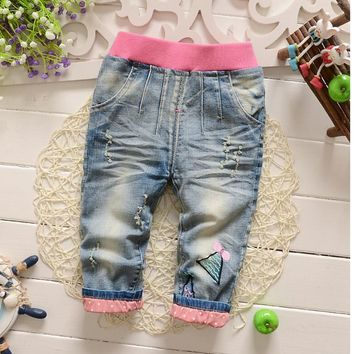 2016 spring and autumn infant toddler jeans pants fashion letter print pocket baby boy pants