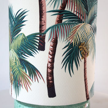 palm tree tropical circle lamp/SOLD