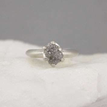 Raw Diamond Engagement Ring - Matte Texture Sterling Silver - Rough Uncut Conflict Free Diamond - Engagement Rings - April Birthstone Ring