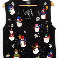 Ugly Christmas Sweater Cardigan Vest Holiday Knit Snowman Beaded Sequin Small