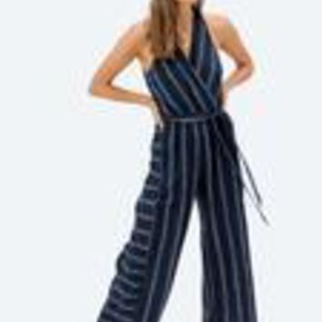 Selma Striped Jumpsuit - Navy