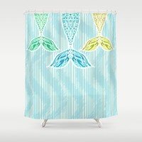 Mermaids and Stripes Shower Curtain by Lisa Argyropoulos