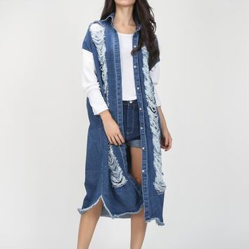 Autumn streetwear long denim trench coat for women hollow out ripped vintage long sleeve windbreaker new clothing