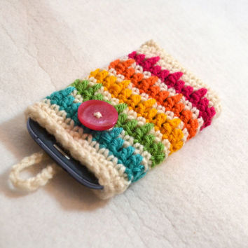 Rainbow Striped Cell Phone Sleeve, Crochet Phone Cozy, Smartphone Case, Colorful iPhone sleeve,