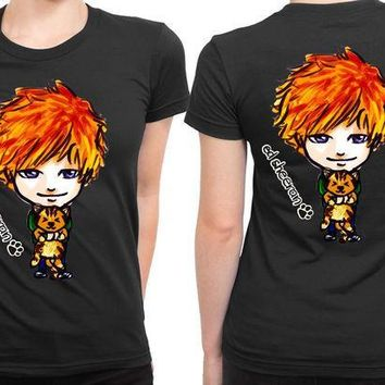 CREYP7V Ed Sheeran Cartoon With His Cat 2 Sided Womens T Shirt