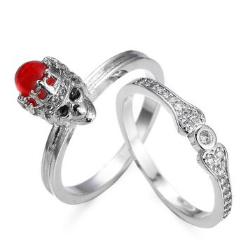 European New Fashion Creative Skeleton Red stone Zircon Ring Punk Crown Skull Finger Ring Party Jewelry for Women Size 6-10 anel