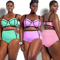Plus size XL-4XL High waist Bikini Big Cup Bikini Push Up Bikini Vintage Triangle Swimwear Plus Size High Waist bathing suit = 1956352388