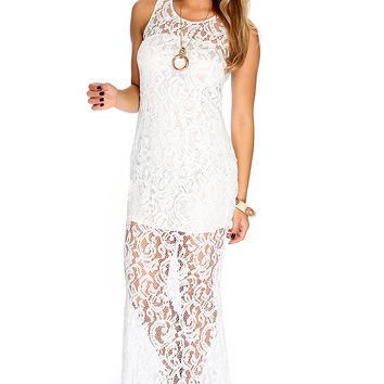 Sexy White Embroidered Mesh Sleeveless Maxi Dress