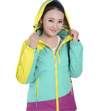 Winter and Autumn Women Patchwork Colorful Hiking &Camping Jacket Snowboard & Skiing Jacket Suit  Femal Coat