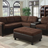 2 pc Cleavon collection 2 tone chocolate easy rider and espresso faux leather upholstered reversible sectional sofa